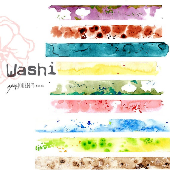 Washi Strips, watercolor designs - digital download for bible journaling, card making and craft