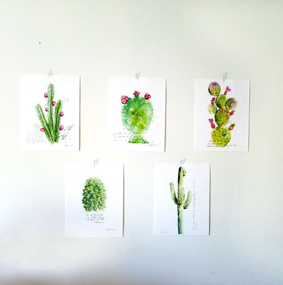 Inspirational christian art:  Cactus illustration with bible verses SET of 5