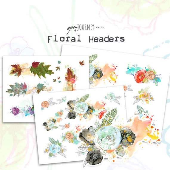 Floral Headers - digital download for bible journaling, card making and craft
