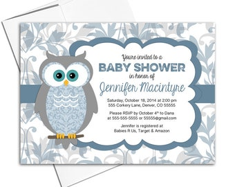Owl baby shower invitation etsy owl baby shower invitation for boys baby shower invites rustic woodland blue and gray printed wlp00730 filmwisefo
