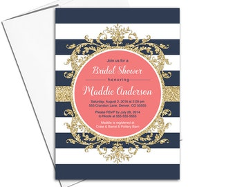 Navy and coral bridal shower invitations etsy gold coral and navy bridal shower invitation navy striped invitation wedding shower invites printed or printable wlp00662 filmwisefo