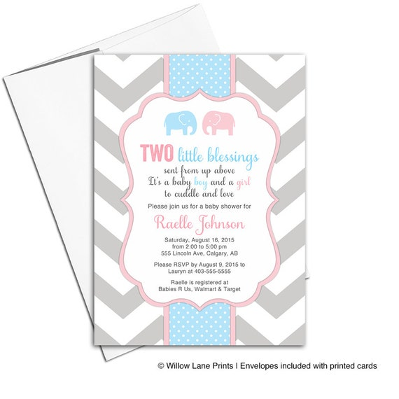 Printable twin boy and girl baby shower invitation twin baby etsy image 0 filmwisefo