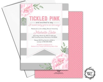 Tickled Pink Baby shower Invitation for a Girl Pink and Gray Flower Baby Shower Invites Stripes, Printable or Printed - WLP00799