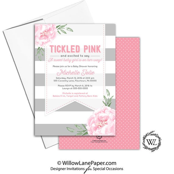 Tickled pink baby shower invitation for a girl pink and gray etsy image 0 filmwisefo