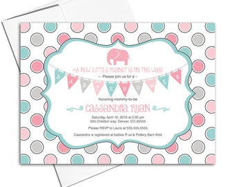 printable elephant baby shower invitations for girls, gray, pink and aqua, girls baby shower invite with elephants - WLP00740
