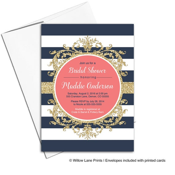 Gold coral and navy bridal shower invitation navy striped etsy image 0 filmwisefo