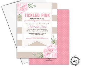 Floral Baby Shower Invitation Girl, Tickled Pink Baby Shower Invites Pink Beige Brown, printable or printed - WLP00799