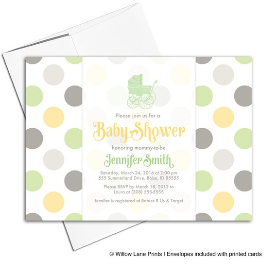 Gender neutral baby shower invites green yellow gray baby etsy image 0 filmwisefo