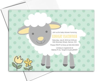 Baby neutral baby shower invites | neutral baby shower invitation lamb mint gray yellow | printable or printed - WLP00714