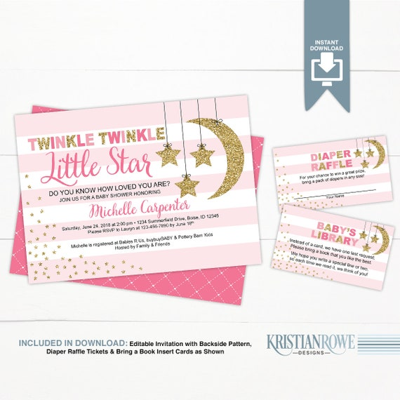 Girl Baby Shower Invitation Template Pink Gold Twinkle Etsy