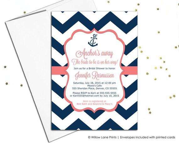Nautical bridal shower invitations navy and coral wedding etsy image 0 filmwisefo
