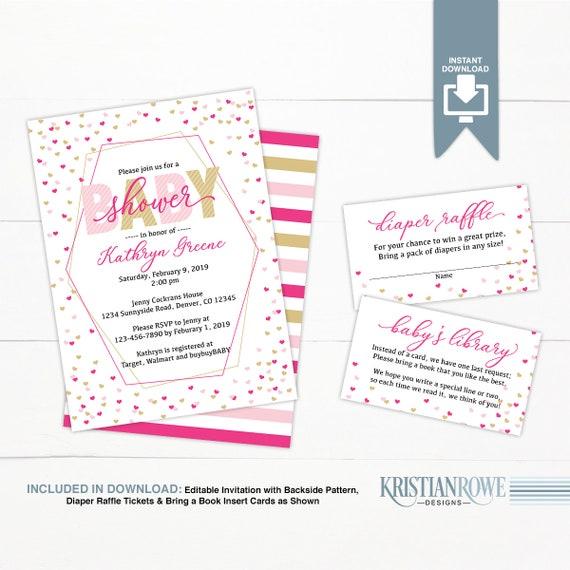 Heart Baby Shower Invitation Girl Pink Gold Baby Shower