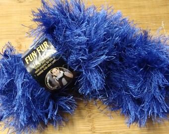 2 Skeins Lion Brand Fun Fur Yarn in Sapphire DESTASH
