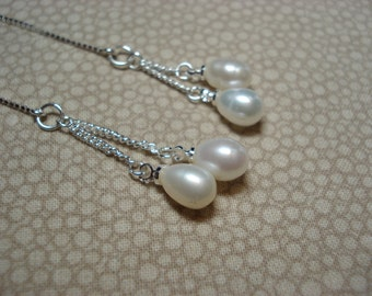 Double Pearls on Sterling Ear Threads- Threader Earrings or Necklace-FREE SHIPPING To U.S.-