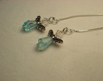 Small Blue Angels  on Sterling Threader Earrings or Necklace-Ear Threads-FREE SHIPPING to U.S.