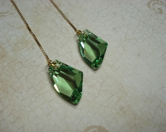 Green Swarovski Crystal on Gold Plated Ear Threads-FREE SHIPPING To U.S.- Threader Earrings- Vermeil