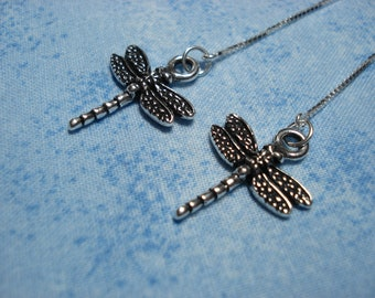 Silver Dragonflies on Sterling Threader Earrings or Necklace--Ear Threads-FREE SHIPPING to U.S.