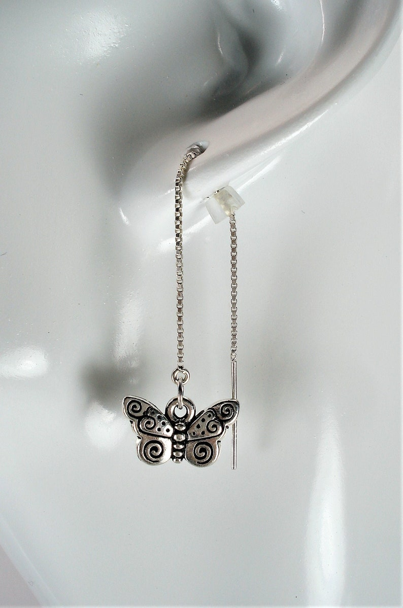 Silver Butterflies on Sterling Ear Threads Threader Earrings or Necklace-FREE SHIPPING To U.S