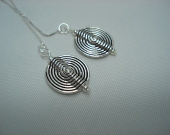 Silver Spiral Discs on Sterling Ear Threads-Threader Earrings or Necklace-FREE SHIPPING To U.S.-