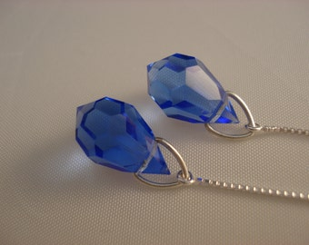 Sapphire Blue Crystals on Sterling Threader Earrings or Necklace-Ear Threads-FREE SHIPPING to U.S.