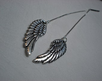 Angel Wing Ear Threads-Threader Earrings or Necklace-FREE SHIPPING To U.S.-