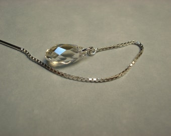 Clear Teardrop Swarovski Crystals on Sterling Ear Threads-FREE SHIPPING To U.S.- Threader Earrings or Necklace