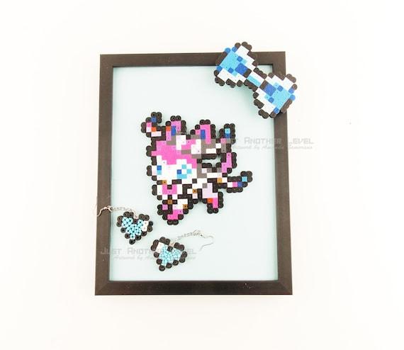 Nymphali Pokemon Coffret Framed Art Nymphali Pince à Cheveux Pixel Et Coeur Boucles Doreilles
