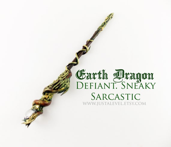 Earth Dragon Wand - Gold Brushed against Viney Nature Inspired Handle with  sculpted Chinese Dragon and Acrylic Dome