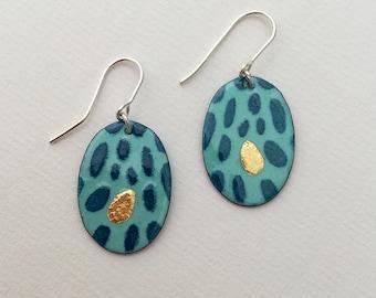 Blue Spotty Earrings, Spotty Enamel Earrings, Oval enamel Earrings, Gold Spot Earrings,  Blue Enamel, Dramatic  Earrings,