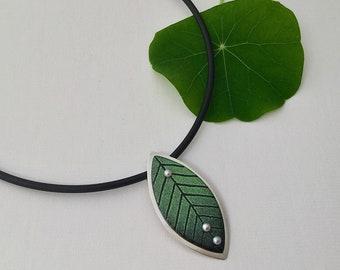 Leaf Enamel Necklace   Choker Leaf Necklace   Green Leaf Necklace   Enamel Pearl Necklace   Green Enamel Necklace   Designer Leaf Necklace  