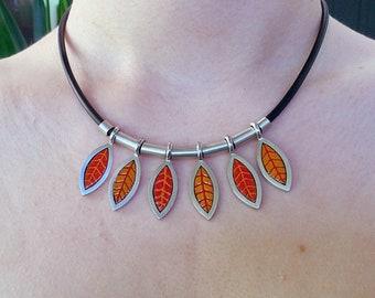 RED Leaf Enamel Silver Necklace