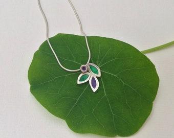 Silver Enamel Necklace  Enamel Leaf Necklace  Green and Purple Necklace   Flower Necklace  Colourful Necklace   Designer Necklace  