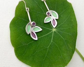 Leaf Drop Earrings, Flower Drop Earrings, Enamel Drop Earrings, Silver Enamel Earrings, Green Enamel Earring, Mauve Enamel Earring,