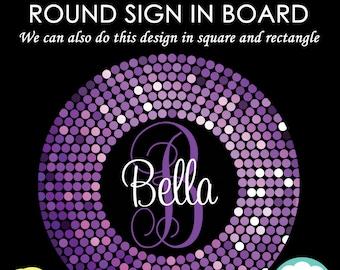 ROUND Bat Mitzvah Sign in Board - Purple Confetti