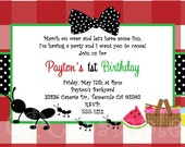 Items similar to ants on a picnic birthday invitation printable or ants on a picnic birthday invitation printable or printed picnic party birthday invitations ants on a picnic party supplies filmwisefo
