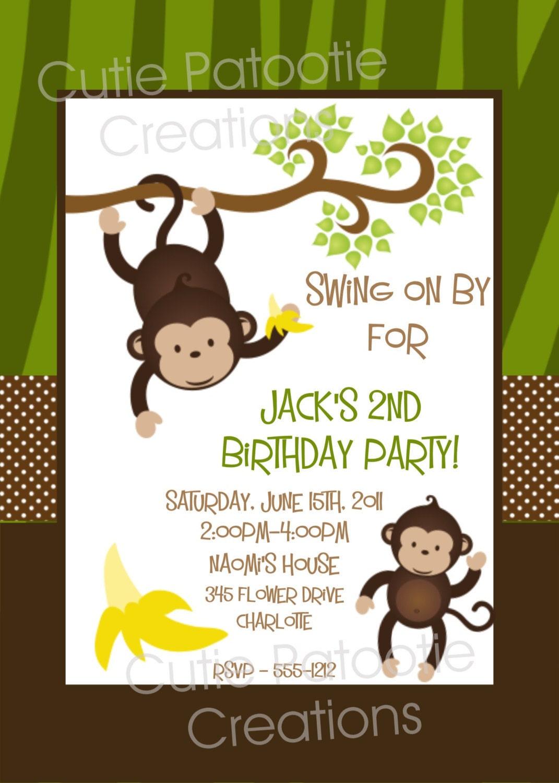Monkey Birthday Invitation Printable or Printed Monkey 1st | Etsy
