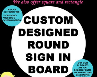 Custom ROUND Sign in Board for Bar Mitzvah - Bat Mitzvah - Wedding - Sweet 16 - Guest Sign In