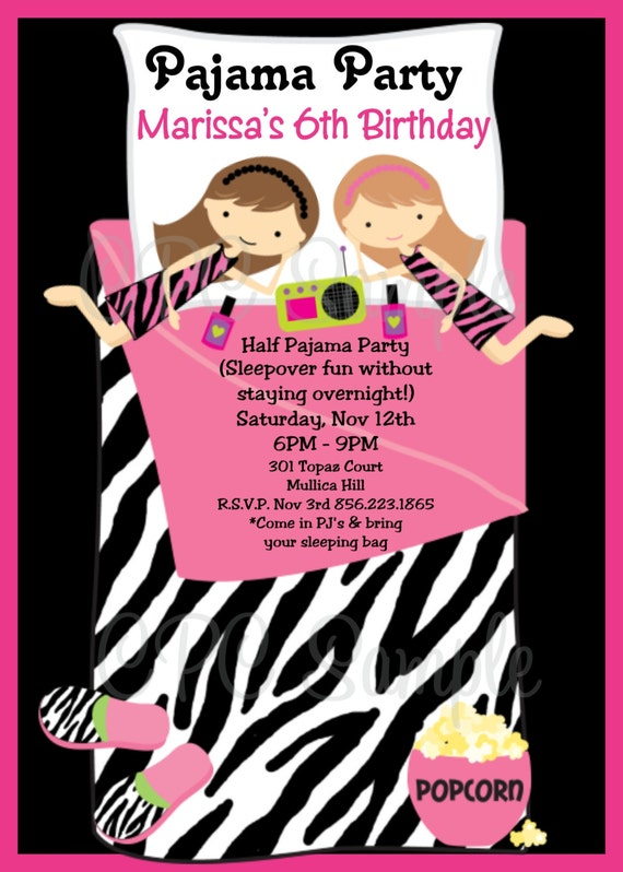 Pajama Party Birthday Invitation Printable Or Printed Invite Etsy