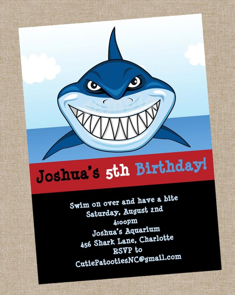 Shark Birthday Invitation Printable Or Printed Party