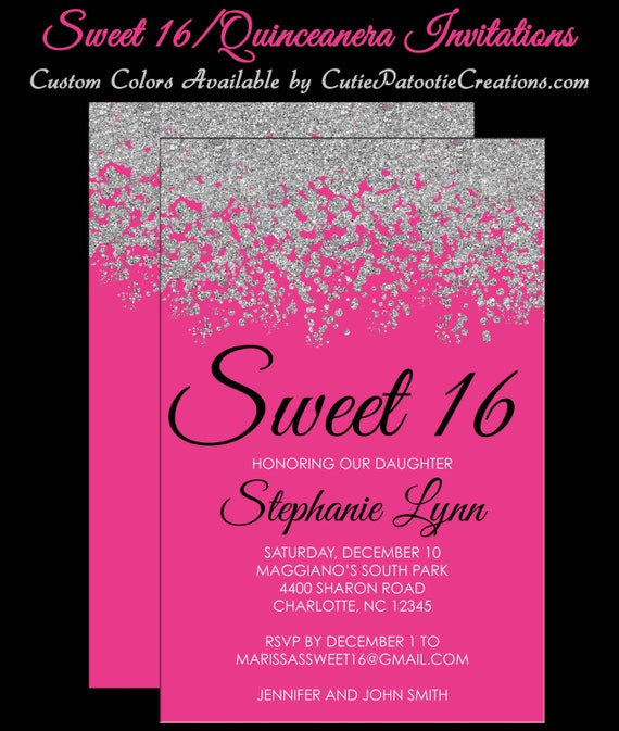 100abf04569 Sweet 16 Invitations - Quinceanera Invitation - Hot Pink and Silver Sparkle  Faux Glitter - Sweet Sixteen Guest   Return Addressing Available