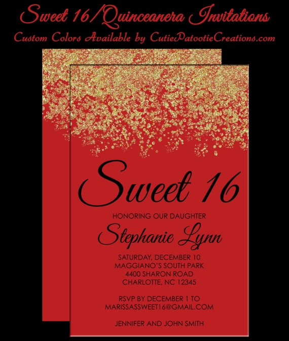 3297522747c Sweet 16 Invitations - Quinceanera Invitation - Red and Gold Sparkle Faux  Glitter - Sweet Sixteen Guest   Return Addressing Available