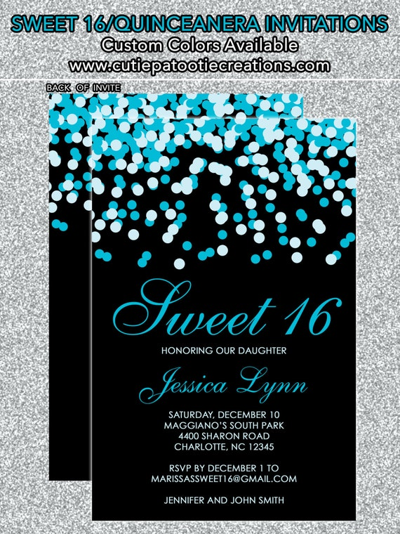 Teal Blue Black Confetti Sweet 16 Birthday Invitations