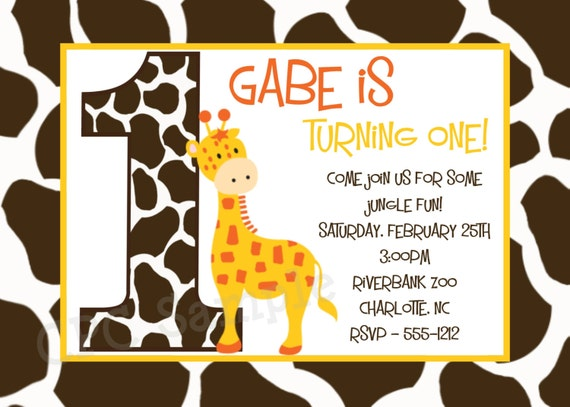 giraffe birthday invitation giraffe birthday party invitations etsy