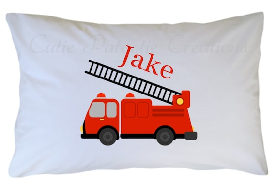 Personalized Fire Truck Pillow Case Standard Travel