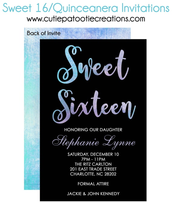 Sweet 16 Birthday Invitations Quinceanera Invitation Bat