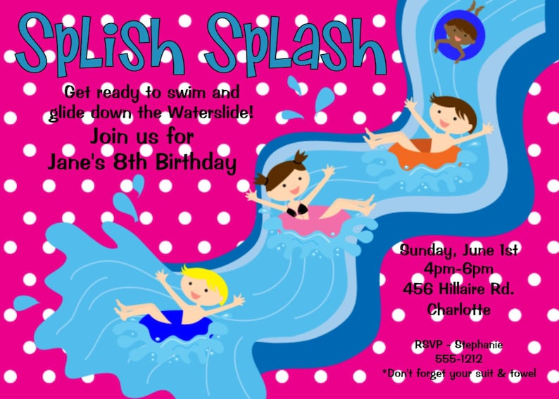Pool Party Birthday Invitation Water Slide