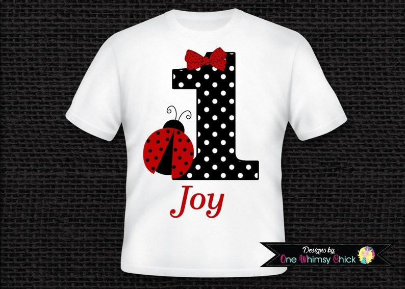 03bb54adb Ladybug Birthday T-Shirt or Bodysuit Personalized with ANY   Etsy