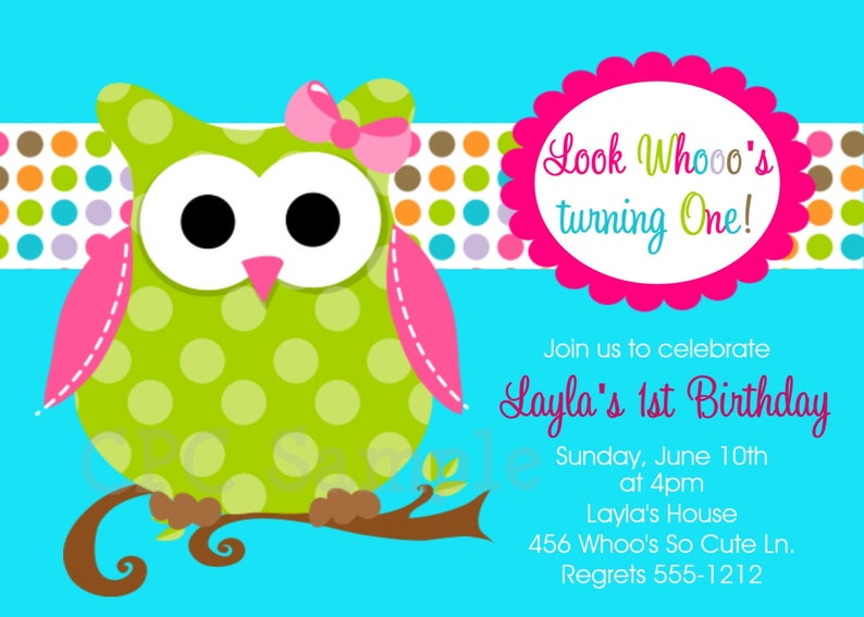 Owl Birthday Invitations Printable Or Printed Invite