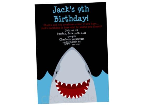 shark birthday invitation shark party invitations printable etsy
