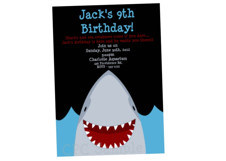 Shark Birthday Invitation Party Invitations Printable
